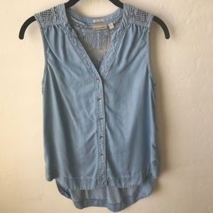 Chambray Tank with Cut-Out Detailing